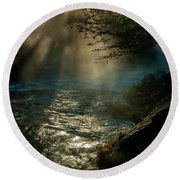 Sunrays At Fork River Round Beach Towel
