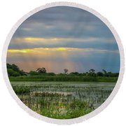 Sunrays On The Wetlands Round Beach Towel by Tom Claud