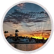 Sunrays Over Huntington Harbour Round Beach Towel by Peter Dang