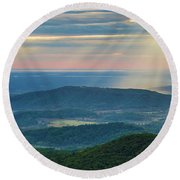 Round Beach Towel featuring the photograph Sunrays Over The Blue Ridge Mountains by Lori Coleman