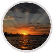 Sunrays Round Beach Towel