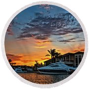 Sunrays Sunset Over Huntington Harbour Round Beach Towel by Peter Dang
