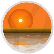 Sunrise Abstract In Orange Round Beach Towel