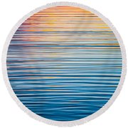 Sunrise Abstract On Calm Waters Round Beach Towel