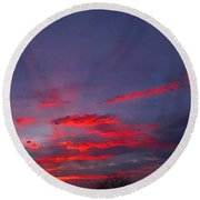Sunrise Abstract, Red Oklahoma Morning Round Beach Towel