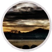 Round Beach Towel featuring the photograph Sunrise And Hay Bales by Thomas R Fletcher