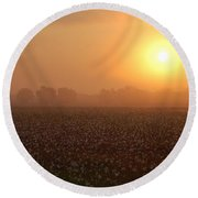 Sunrise And The Cotton Field Round Beach Towel