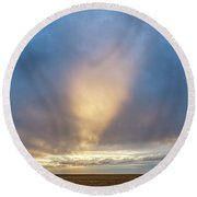 Round Beach Towel featuring the photograph Sunrise And Wheat 01 by Rob Graham