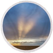 Sunrise And Wheat 02 Round Beach Towel
