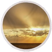 Sunrise And Wheat 04 Round Beach Towel