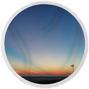 Round Beach Towel featuring the photograph Sunrise And Windmill 01 by Rob Graham