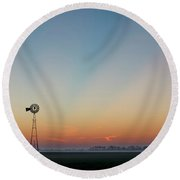 Sunrise And Windmill 02 Round Beach Towel