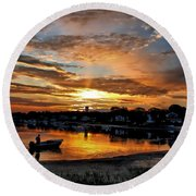 Sunrise At Back Cove Round Beach Towel