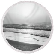 Round Beach Towel featuring the photograph Sunrise At Beach Black And White  by John McGraw