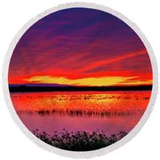 Sunrise At Bosque Del Apache Round Beach Towel by Kristal Kraft