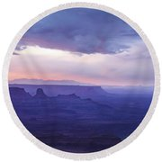 Round Beach Towel featuring the photograph Sunrise At Canyonlands by Marie Leslie