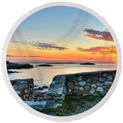Sunrise At Castle Rock Marblehead Ma Round Beach Towel