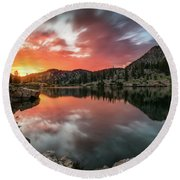 Round Beach Towel featuring the photograph Sunrise At Cecret Lake by James Udall