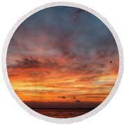 Round Beach Towel featuring the photograph Sunrise At Cheyenne Bottoms 01 by Rob Graham