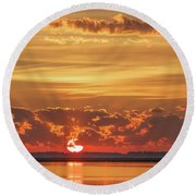 Sunrise At Cheyenne Bottoms 02 Round Beach Towel