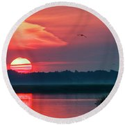 Round Beach Towel featuring the photograph Sunrise At Cheyenne Bottoms 03 by Rob Graham