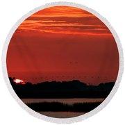 Sunrise At Cheyenne Bottoms 04 Round Beach Towel