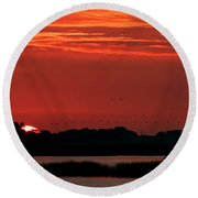 Sunrise At Cheyenne Bottoms 04 Round Beach Towel
