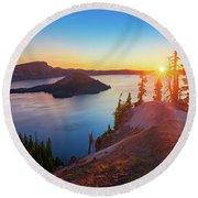 Sunrise At Crater Lake Round Beach Towel