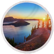 Sunrise At Crater Lake Round Beach Towel
