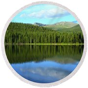 Round Beach Towel featuring the photograph Sunrise At Echo Lake by Marie Leslie