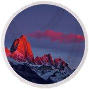 Sunrise At Fitz Roy #3 - Patagonia Round Beach Towel