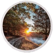 Sunrise At Great Bend Round Beach Towel