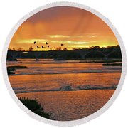 Sunrise At Interurban Bridge 5241 Round Beach Towel
