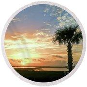 Round Beach Towel featuring the photograph Sunrise At Ocean Isle by Kerri Farley
