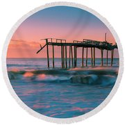 Round Beach Towel featuring the photograph Sunrise At Outer Banks Fishing Pier In North Carolina Panorama by Ranjay Mitra