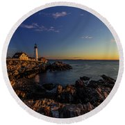 Sunrise At Portland Headlight Round Beach Towel