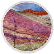 Round Beach Towel featuring the photograph Sunrise At Rainbow Rock by Darren White