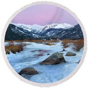Sunrise At Rocky Mountain National Park Round Beach Towel