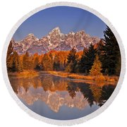 Sunrise At Schwabacher Landing  Round Beach Towel