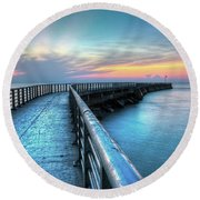 Sunrise At Sebastian Inlet Round Beach Towel