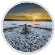 Sunrise At Soda Lake Round Beach Towel