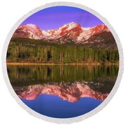 Round Beach Towel featuring the photograph Sunrise At Sprage Lake by Darren White