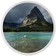 Sunrise At Swiftcurrent Lake Round Beach Towel