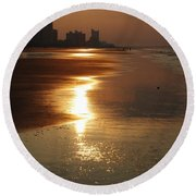 Sunrise At The Beach Round Beach Towel by Eric Liller