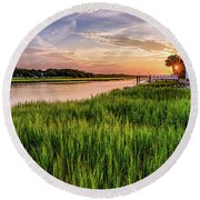 Sunrise At The Boat Ramp Round Beach Towel