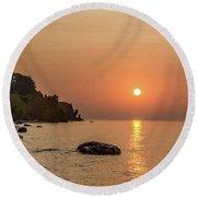 Sunrise At The Cliffs Round Beach Towel