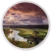 Sunrise At The Course Round Beach Towel