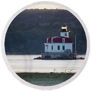 Round Beach Towel featuring the photograph Sunrise At The Esopus Lighthouse by Jeff Severson