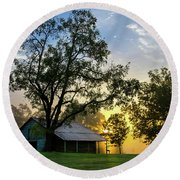 Round Beach Towel featuring the photograph Sunrise At The Farm by George Randy Bass