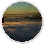 Round Beach Towel featuring the photograph Sunrise At The Golden Gate by David Bearden